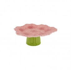 CAKE STAND ON FOOT - DAHLIA, PINK/GREEN