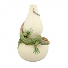 CALABASH, WHITE WITH LIZARD