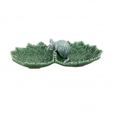 DOUBLE LEAF-SHAPED PLATE WITH MOUSE