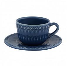 TEA CUP AND SAUCER, DARK BLUE