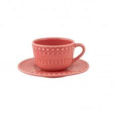 TEA CUP AND SAUCER, PINK