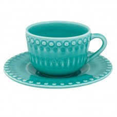 TEA CUP AND SAUCER, AQUA GREEN